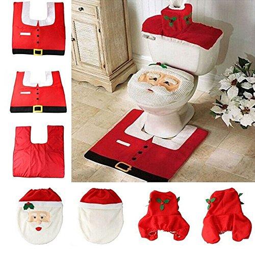 DoTech 3 Pcs Decorazioni di Babbo Natale WC Coperchio & Tappeto & Serbatoio Acqua Cover Set Decorazione di toilette di Natale