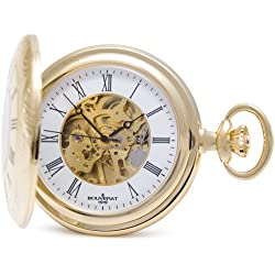 Bouverat 1919 Patterned Case Half Hunter Mechanical Roman Pocket Watch with White Dial BV824107