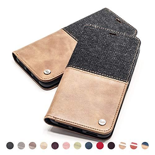 QIOTTI Hülle Kompatibel mit iPhone 6s Plus I iPhone 6 Plus Ledertasche aus Hochwertigem Leder RFID NFC Schutz mit Kartenfach Standfunktion in Denim Braun - Telefonieren Iphone Plus 6