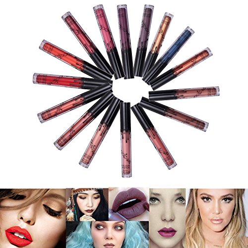 16 Colors Waterproof Durable Matte Liquid Lipstick Beauty Lip Glosses, Sexy Waterproof Long Lasting Lip Stains Tints, Moisturizing Lipstick Lip Gloss / Fashionable Colors Long Lasting Lipsticks Set