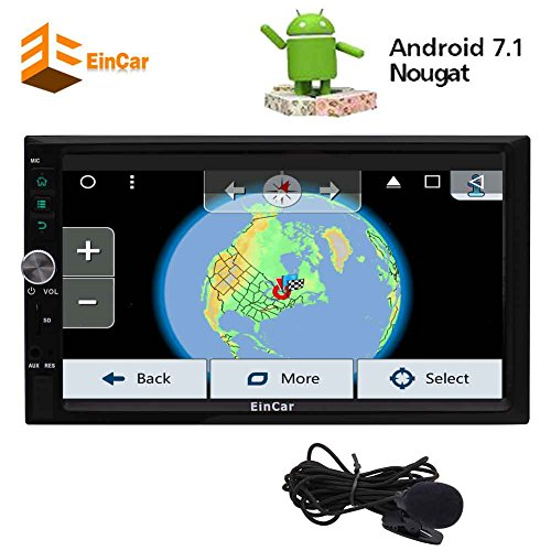EinCar Electronics 7 Zoll Android 7.1 Nougat Octa-Core Auto Autoradio-Stereo Quad-Core-Auto-Video Stereo-Receiver in Schlag-Doppelt-Din GPS Navigation Automotive Universal-Audiosystem 1080P Media Player Wifi Bildschirm Mirror Externe Mic