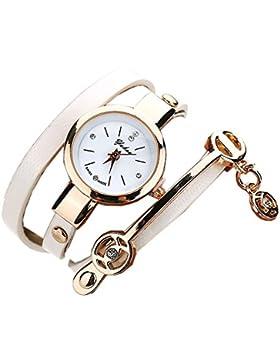 FEITONG Damenuhr Mode Einzigartig PU Leder Band Analoge Quarz Armbanduhr Weiß Neu