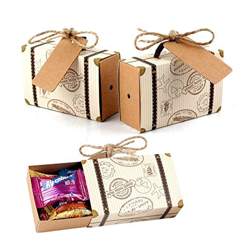 Lazeny 50x Koffer Hochzeit Favous Box Gastgeschenk Geschenkbox Vintage Süßigkeiten Box Bonboniere Box Kartonage Schachtel Kasten für Geburtstag Babyparty Taufe Kinder Party Weihnachten Tischdeko
