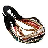 HABI Haarband elastisch verstellbar Gummilitze Stirnband mit Strass , Kristall , Deko und die Kette aus Metall . Haarschmuck für Damen (1)