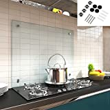 Melko Spritzschutz Herdblende aus Glas, für Küche, Herd, Fliesen, 6 mm ESG Sicherheitsglas, Küchenrückwand, inkl. Schrauben, 120 x 60 cm, Klarglas