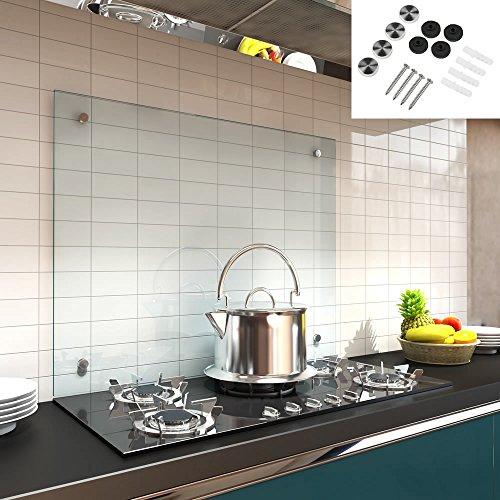 Melko Spritzschutz Herdblende aus Glas, für Küche, Herd, Fliesen, 6 mm ESG Sicherheitsglas, Küchenrückwand, inkl. Schrauben, 70 x 60 cm, Klarglas