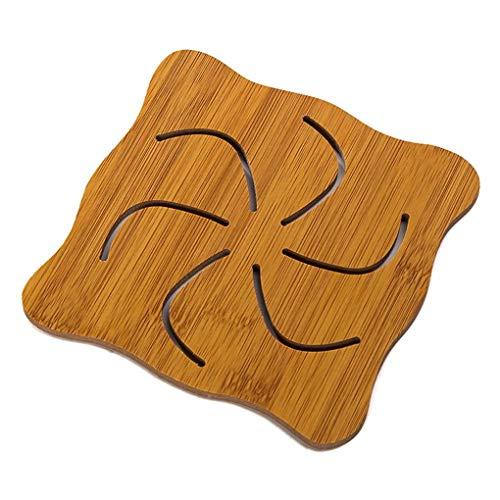 Kakiyi Hohle Cartoon-Design Tasse Becher Hot Pot Tabelle Holz Pad Wärmeisolierung Schreibtisch Matte Anti-Rutsch-Platte (Tischsets Holz-tabelle)