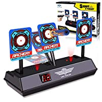 M&J Electronic Digital Target for Nerf Guns N-Strike Elite/Mega/Rival Series - Auto-Reset Intelligent Light Sound Effect Scoring Targets Toys for Boys and Girls