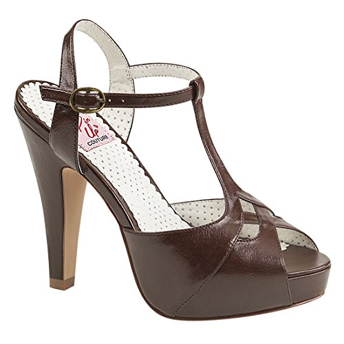 Pin Up Couture - Bettie-23, Sandali Donna D. Brown Faux Leather