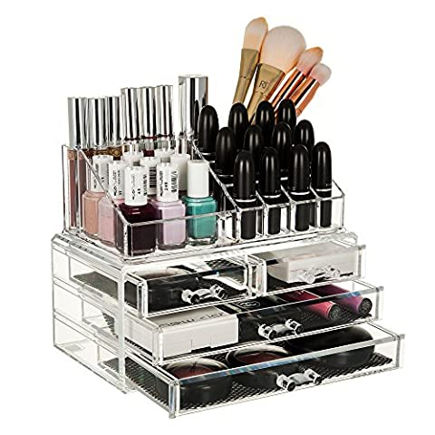 DOUBLE LAYER BEAUTY CLEAR ACRYLIC COSMETIC DRAWER / MAKE UP NAIL POLISH VARNISH DISPLAY STAND / ORGANISER / RACK / HOLDER CAN ALSO BE USED FOR MAKEUP BRUSH SETS, JEWELLERY AND ARTS AND CRAFT - 20 SECTIONS