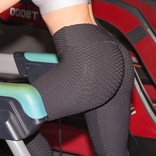 huangThroStore Damen High Waist strukturierte Workout Anti-Cellulite Kompression-Leggings Slim Fit Butt Lift Elastische Hosen Scrunch Yoga Pants Slimming Rüschen Strumpfhose, Schwarz, S