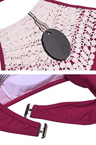 Keland Damen Sexy Push-Up Bikini Bade Set Neckholder mit Zwei Stück Badeanzüge Bademode Violett