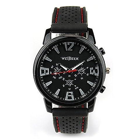 OrrOrr Militär Uhr Stahluhr Sportuhr Herren Sport Armbanduhr Schwarz Silikone Modisch Analog