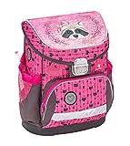 Ergonomischer Schulranzen mit Brustgurt für die Grundschule 1-2 Klasse / Mädchen / Waschbär-Motiv Pink und Grau von Belmil