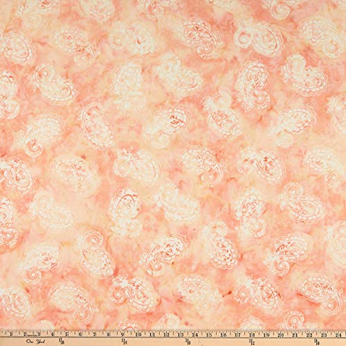 Anthology Batiks Anthology Fabrics Margot Lux Batik W/A Large Hat Paisley Blush Stoff, Textil, by The Yard -