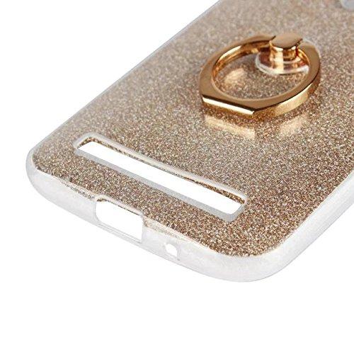 Luxus Bling Sparkle Style Case, Soft TPU [Silikon] Flexible Glitter Rückentasche [Anti Scratch] mit Fingerring Stand für Asus ZB452KL ZenFone GO ( Color : Gold ) Black
