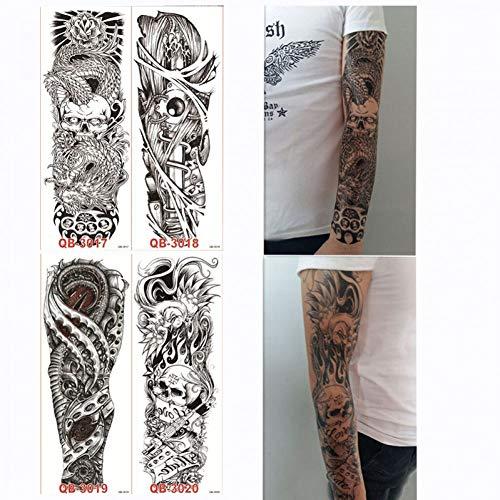 GHHCG 4 Stücke Temporäre Big Full Arm Tattoo Aufkleber Rose Blume Design Für Frauen Männer DIY Körperbemalung Werkzeug Tattoo Aufkleber