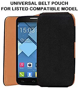 High Quality Leather Belt Case Cover Carry Pouch Holder With Clip Compatible For AlcatelOne Touch Fire C-BLACK