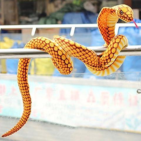 Venta al por mayor grande dorado de piel de serpiente Cobra Serpiente Juguete cojín decoración de regalo de Halloween Prank Prop Replica Kid