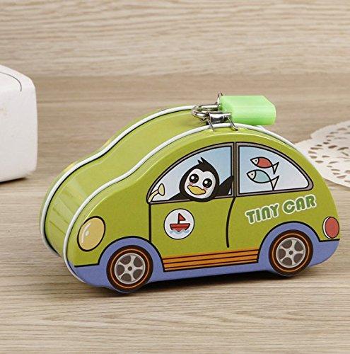 Luxury-uk Caja de Dinero para niños y Adultos Colorful Tiny Car Piggy Bank Caja de Almacenamiento de Lata Creativa (Verde)