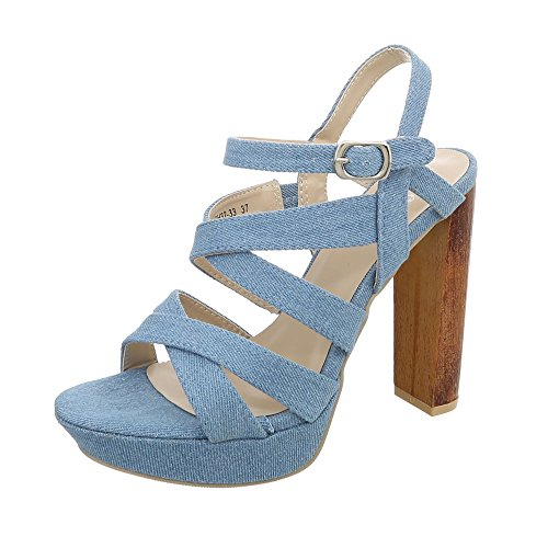 Ital-Design High Heel Sandaletten Damen-Schuhe High Heel Sandaletten Pump High Heels Schnalle Sandalen & Sandaletten Hellblau, Gr 37, Gh32-33-