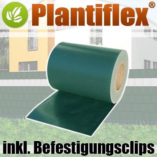 Plantiflex Sichtschutz Rolle 35m blickdicht PVC Zaunfolie Windschutz für Doppelstabmatten Zaun (Grün)