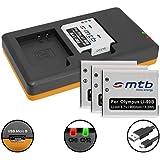 4 Baterías + Cargador doble (USB) para LI-90B Li-92B / Olympus Actioncam Tough TG Tracker / TG-1, TG-2, TG-3, TG-4, TG-5 / XZ-2 … ver lista - (contiene cable micro USB)