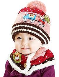Happy Cherry Set de 2 Piezas/Gorro Bufanda de Punto Crochet Cálido Suave para Bebé Niño Niña (10 meses - 4 años) Invierno 6 Colores a Elegir