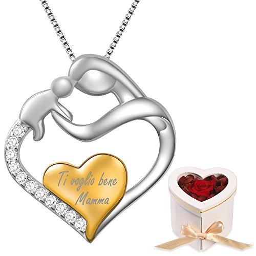Dawanza-regalo festa della mamma collana donna in argento sterling 925-pendente cuore mamma e bambino con cubic zirconia incisione