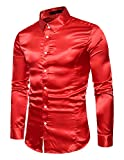 Boom Fashion Hombre Camisas de Manga Larga Casual Slim Brillante Tops Rojo xx-large