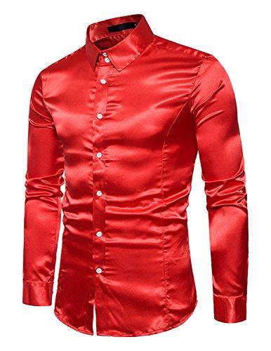 Boom fashion uomo camicie slim fit moda manica lunga camicia elegante tops,rosso,xxl