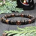 Bracelet homme perles Ø 8mm pierre naturelle Agate motif Tibétain Hématite Bois Coco/Cocotier Fait main Made in France