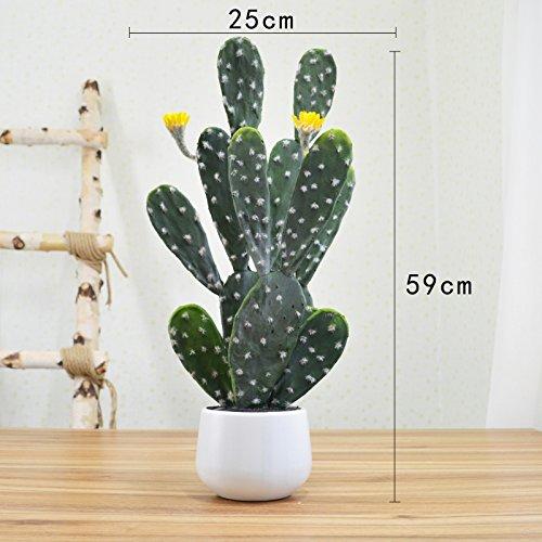 on Künstliche Blumen Kaktus grüne Pflanze getopft rot (Herbst-tabelle Mittelstücke)