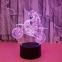 Wuqingren Riding Motorcycle Riders 3D Lights Colorful Visual Stereo Light LED Gradient Touching Remote Control Visual Light 3D Desk Lamp,white warm neutral