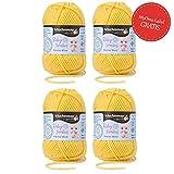 Baby Wolle sonne * 4x Baby Smiles Merino Wool Schachenmayr (je 25g) * kuschelweiche Babywolle zum Stricken gelb (Fb 1022) – pflegeleichtes Baby Garn – Wolle für Babys + GRATIS MyOma Label – Babygarn