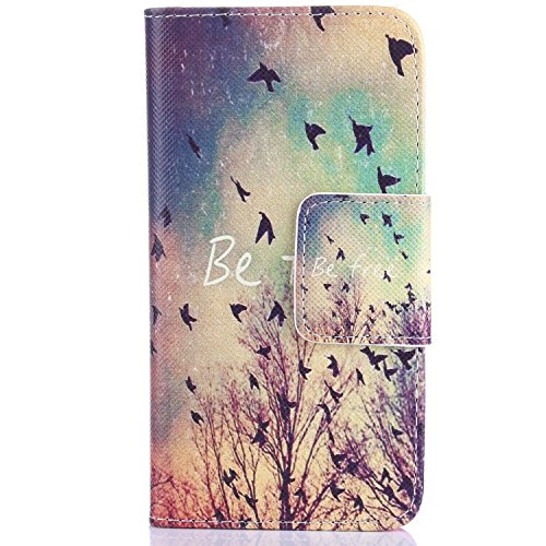 iPhone 4S Hülle, iPhone 4 Hülle,ISAKEN iPhone 4S Hülle Case,Handy Case Cover Tasche for iPhone 4S / iPhone 4, Bunte Retro Muster Druck Flip PU Leder Tasche Case Hülle im Bookstyle mit Standfunktion Ka Retro Tree Birds