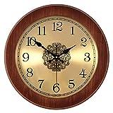 @Reloj de Pared Reloj de Pared Sin tictac Funciona con Pilas Vintage número Romano Dormitorio Sala de Estar Decoración Estilo Europeo Retro Madera Silencio Relojes de Cuarzo Reloj de Pared analógico