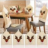 Coprisedia con renne di Natale (set da 4), decorazione natalizia con renne, per la tavola, 50x 60cm
