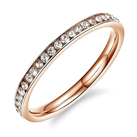 Paialco Women's Stainless Steel Eternal Band Ring with Cubic Zirconia Accent Rose Gold, Size: H 1/2