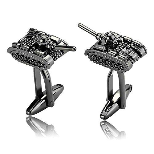 Gemelli da uomo gemelli da serbatoio in acciaio inossidabile politico e militare argento nero papà scatola di gioielli unica elegante fantasia aooaz