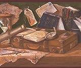 Retro Art Mittelalterliche Werkbank - Globus Tintenfass mit Feder Karte Bücher Kompass Sanduhr grün braun Wallpaper Border Retro-Design, Roll-15' x 10,25 ''