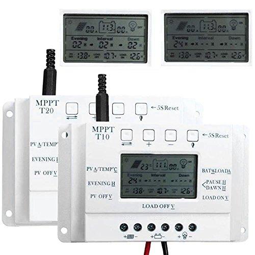 Cewaal LCD 3 Timer TL 12V/24V Regulador USB del regulador del panel solar de MPPT