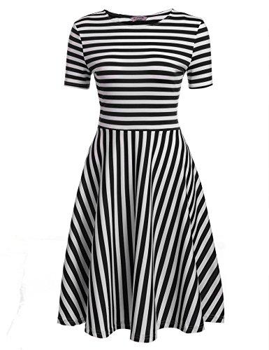 ACEVOG Damen Sommerkleider Rundausschnitt Kurzarm Gestreifte Casual Kleider für Büro Party Freizeit Rosa Blau Weiß Schwarz S-XXL (Kleid Gestreifte Rosa)