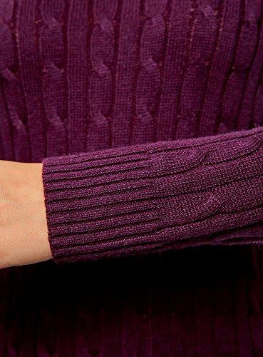 oodji Collection Damen Strickpullover mit Zopfmuster Violett (8800N)