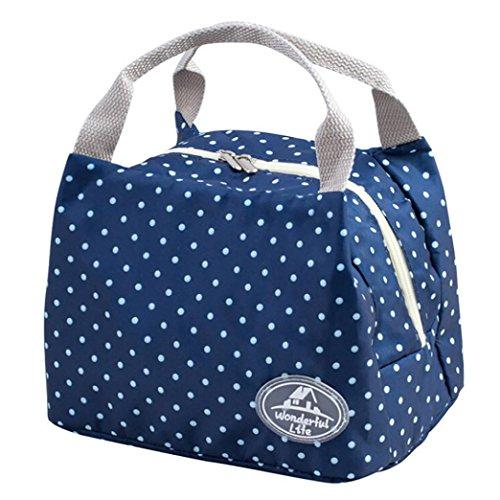 Rosennie kalte Wasserdicht Isolierte Verdickt Lunch Tasche Lunch-Bag für Frauen Kinder Tote Canvas Lunch Boxen Isolierung Paket Tragbar Segeltuch Streifen Picknick Mittagessen Beutel (Blau)