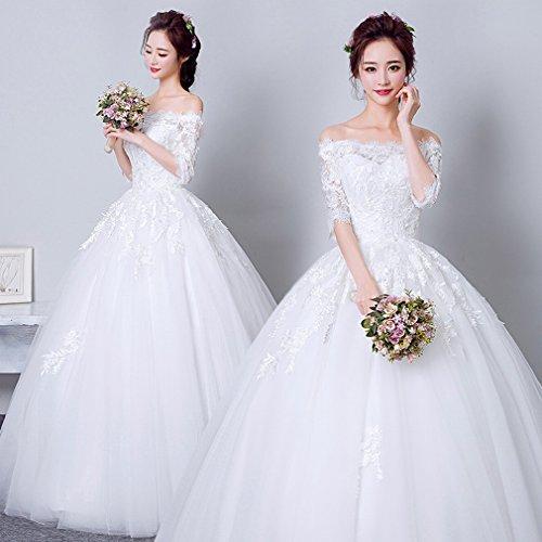 QP Hochzeitskleid Braut Hochzeitskleid Belle Hochzeitskleid Prinzessin Hochzeitskleid aus Spitze, UNE, x-large (Costume De Mariage Gris)