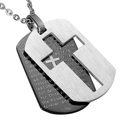 PAURO Herren Edelstahl Bibel Vers Lord Gebet Kreuz Doppelt Hund Umbau Schwarz Silber Hängende Halskette Mit Kette 24 Zoll (Gebete Mann Für Einen)