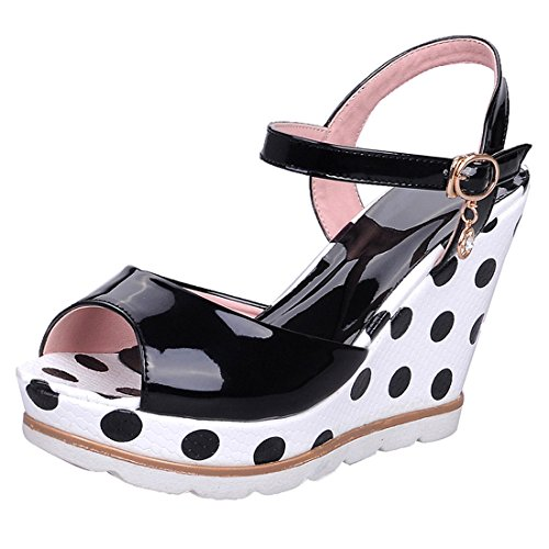 YE Damen Keilabsatz Lack Sandalen Ankle Strap Peep Toe High Heels Plateau mit Riemchen 11cm Absatz Schuhe (Toe Ankle Strap Peep)