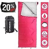 Sac de couchage FUNDANGO Léger,compact et étanche,pour les 4 saisons rectangulaire portable pour adultes/enfants randonnée/voyage/intérieur couchage avec sac de compression, Pink-190x75cm