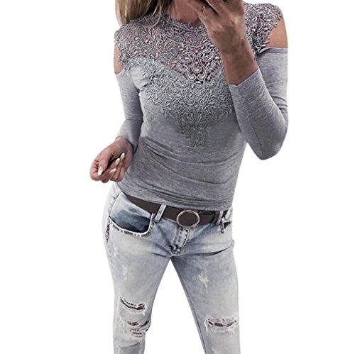 Damen BluseLSAltd Damen Mode Spitze Stickerei Patchwork Langarm Sweatshirt Damen Cold Shoulder Splice Feste schlanke Pullover Casual Top T Shirt (Grau, L) (Knit Tank Tunika Jersey)